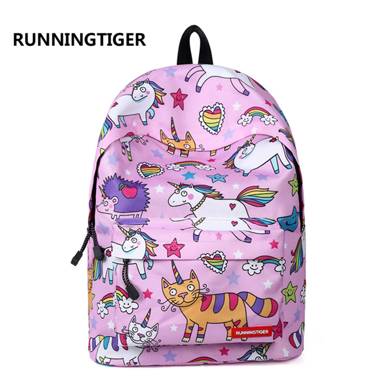 RUNNINGTIGER Women Backpacks Travel-Bags Floral-Print Fashion Canvas for Student Casual
