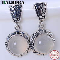 BALMORA 925 Sterling Silver White Chalcedony Dangle Earrings for Women Mother Gift Classic Fashion Jewelry Brincos JWE054081