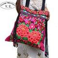 Bordado do vintage Das Mulheres Sacos Nacionais Tendência Handmade Flor Embroideried Étnica Saco Clothshoulder Senhoras Crossbody Bag Sac