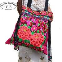 Vintage Etniczne Hafty Kobiet Krajowe Torby Trendu Ręcznie Kwiat Embroideried Clothshoulder Torba Panie Crossbody Torba Sac