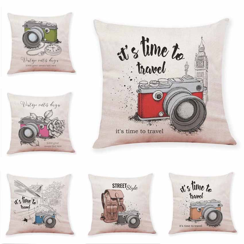 Camaro Printed Cushion Cover ITS TIME TO TRAVEL Throw Pillow Case 45*45cm Cartoon Cover For Sofa Room Home Decor Pillowcase