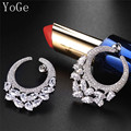 YoGe E0942 Great shinning  AAA Cubic Zirconia round  Stud Earrings ,womens Wedding Jewelry, copper base platinum plated