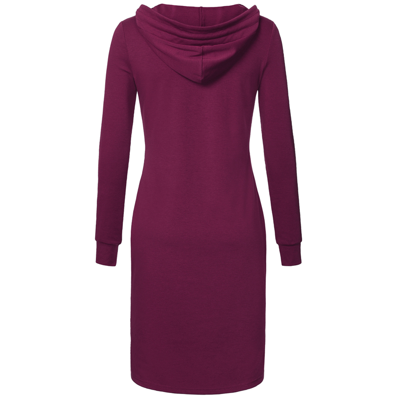 Spring Autumn Women Long Sleeve Sweatshirt Hooded Dress Knee Length Big Pocket Bodycon Casual Dress Red Thickening Women Dress 7