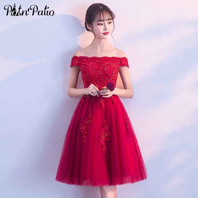 Potnpatio Elegant Boat Neck Luxury Appliques Beading Red Short Prom