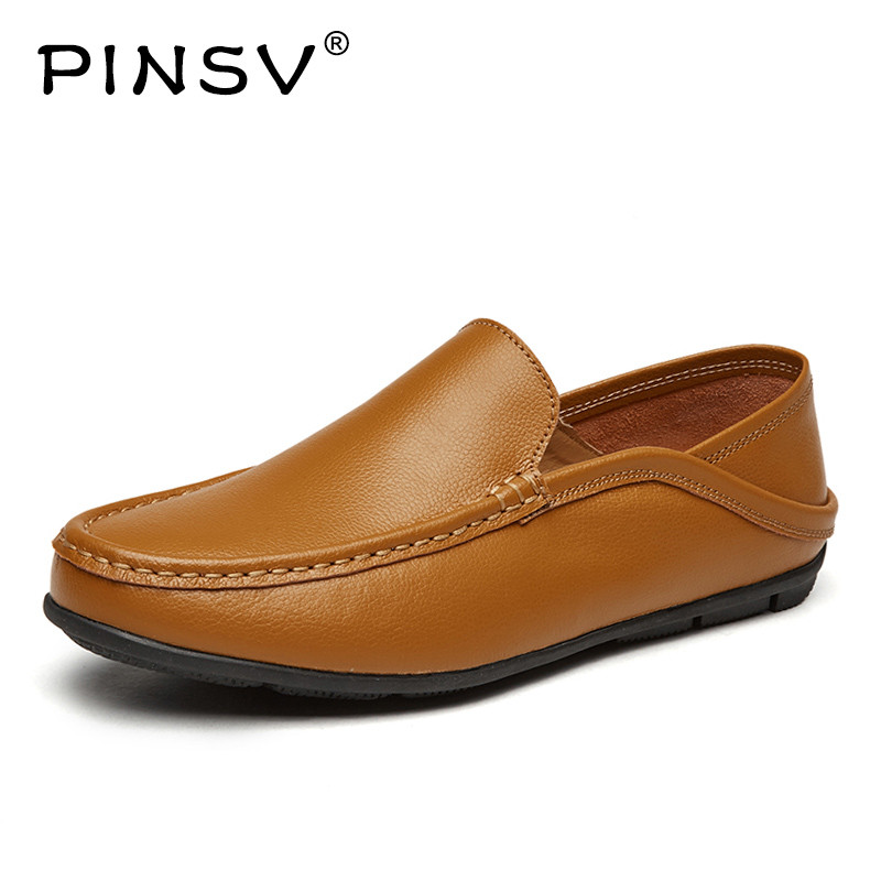 PINSV Outdoor Leather Shoes Men High Quality Casual Flats Fashion Men Leather Shoes Comfortable Mens Shoes Large Sizes 37-46 valstone 2018 men leather casual shoes hip hop gold fashion sneakers silver microfiber high tops male vulcanized shoes sizes 46