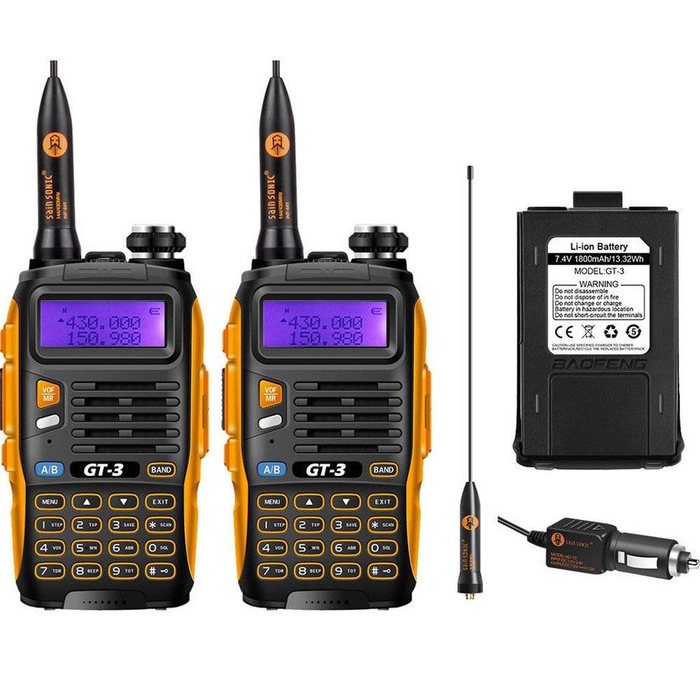 2 PCS באופנג GT-3 מארק II Dual Band 2M / 70cm 136-174 / 400-520MHz חם שתי הדרך רדיו ווקי טוקי 1800mAh סוללה נוספת Li-ion