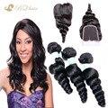 Barato 8A extensão indiano cabelo virgem onda solta indiano Lace encerramento com 3 Bundles não transformados cabelo humano tece