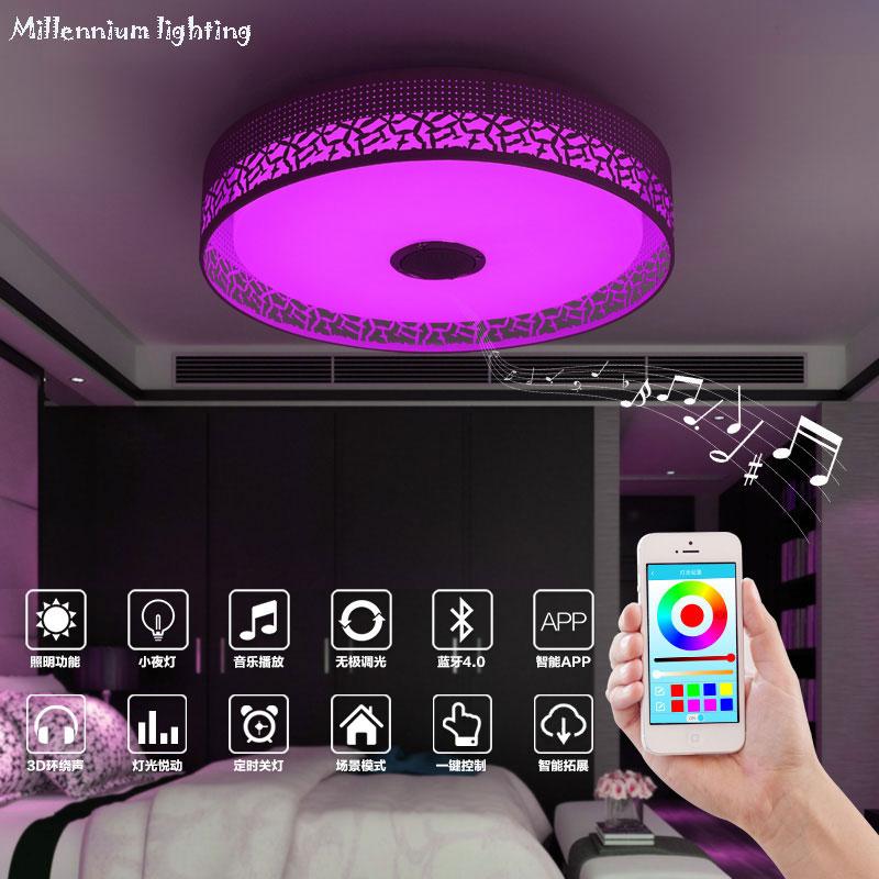 Plafonniers pour chambre téléphone Mobile APP télécommande éclairage intérieur intelligent plafonnier Acryli changement de couleur/lampe de musique