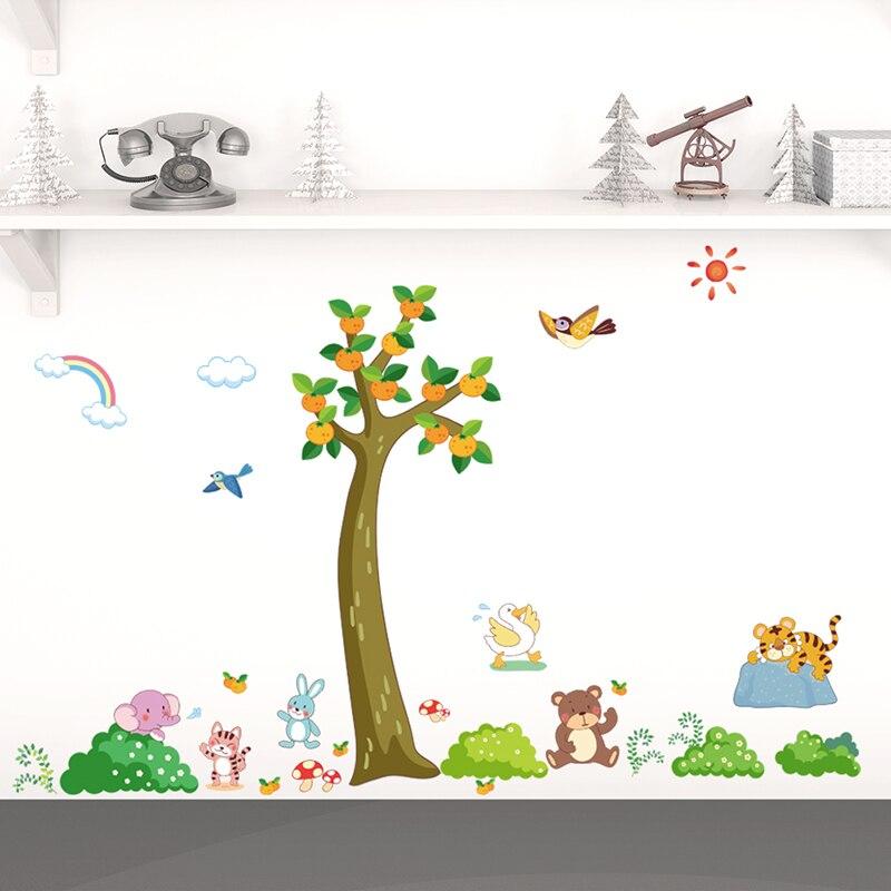 Sun Bird Tiger Bear Cat Orange Tree Wall Stickers Diy Happy Animals Poster For Kids Nursery Room Decoration Pvc Mural Home Decal