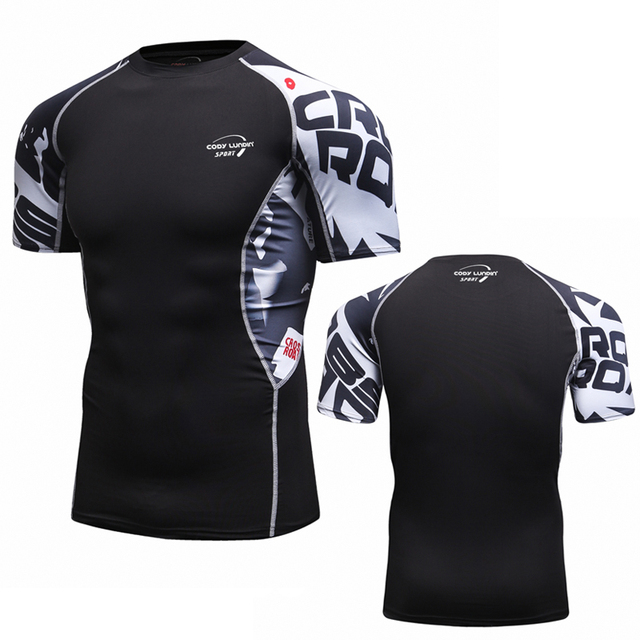 Men Compression Shirts Skin Tight Thermal under Short Sleeve Jerseys  Rashguard Crossfit Exercise Workout Fitness Sportswear 0a625f201