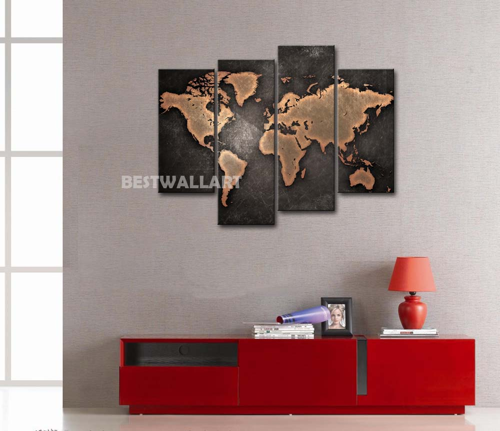General World Map Black Background Piece Painting On Canvas Wall - 4 piece world map