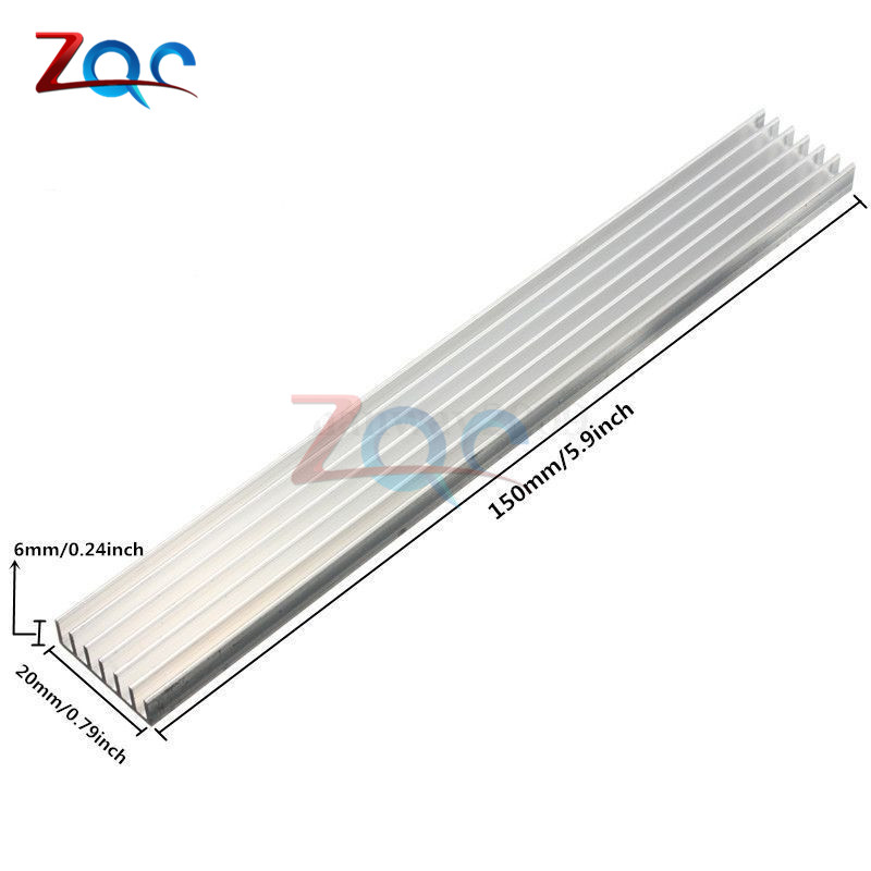 Silver-White Heat Sink LED 150x20x6mm Heat Sink Aluminum Cooling Fin 150x20x6 150*20*6 алмазный брусок 2 зоны заточки extra fine 1200 mesh 9 micron dmt wme