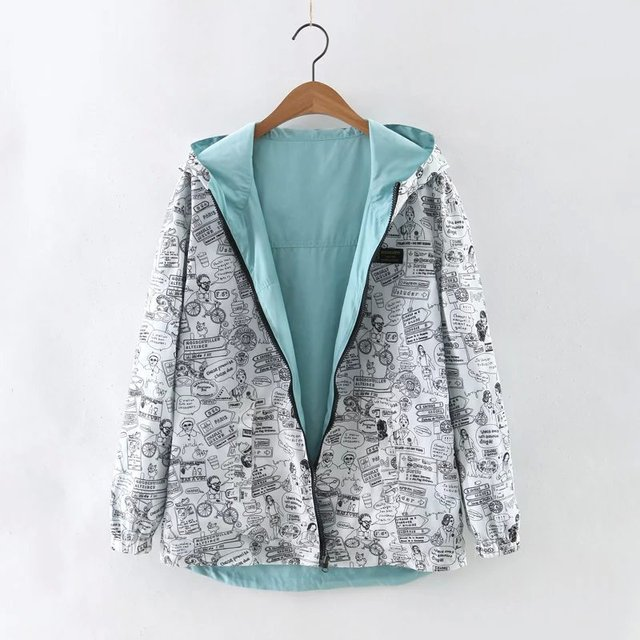 kumaiya 2018 Autumn Women Bomber Basic Jacket Pocket Zipper Hooded Two Side Wear Cartoon Print Outwear Loose Coat
