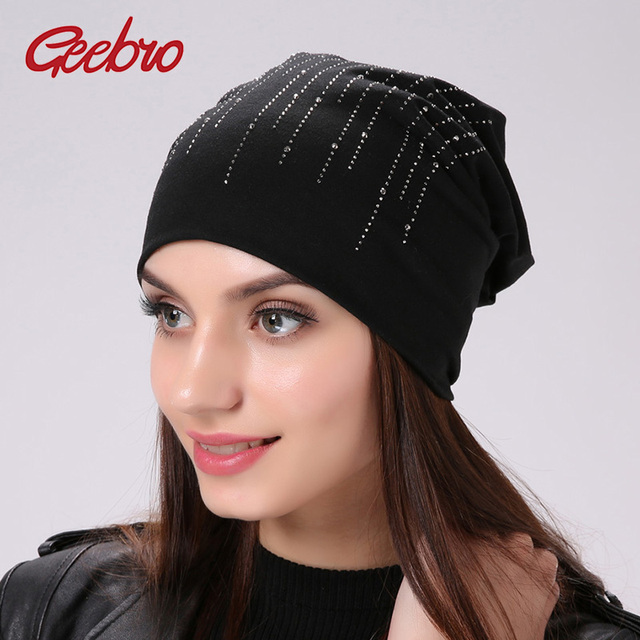 dbb77caa5a8 Geebro Women s Silver Line Rhinestones Beanie Hat Casual Cotton Plain Color  Slouchy Black Beanies for Women Skullies Hats Bonnet