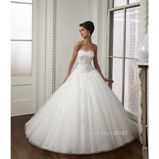 Pure White Exquisite Strapless Wedding Gowns 2017 Beading Tulle ...