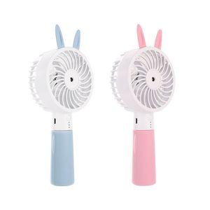 Image 1 - Cute Cat Ear Portable USB Rechargeable Cooler Mini Handy Cooling Fan Desk Pocket Water Mist Cooling Air Humidifier Fan