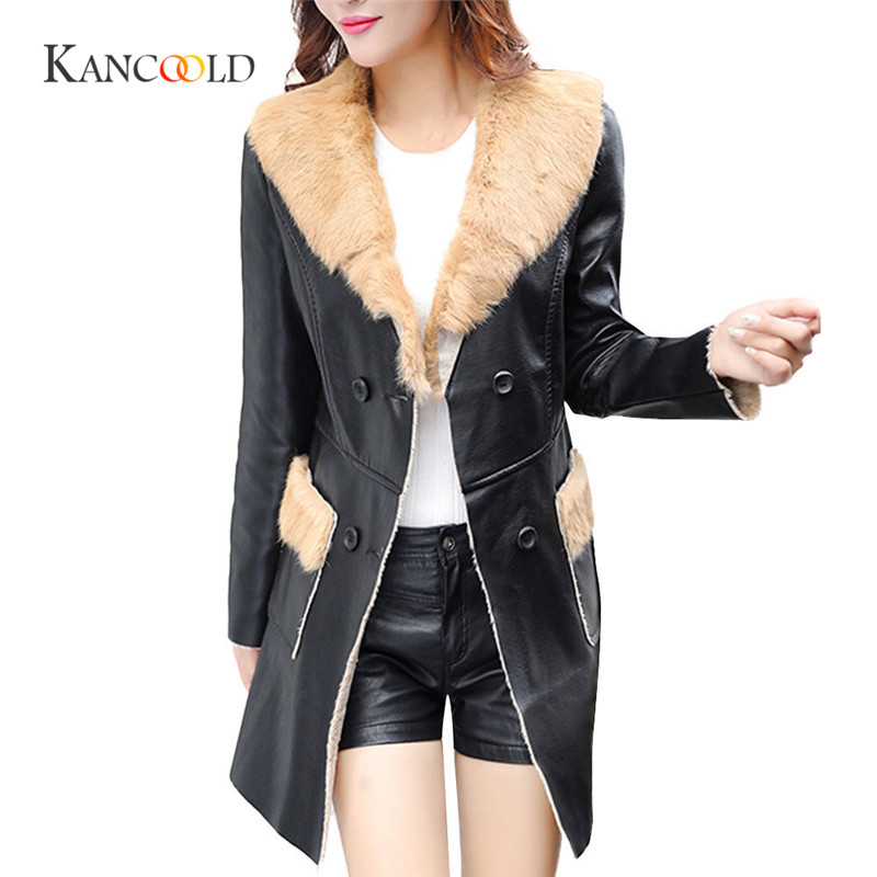 US $32.89 40% OFF|KANCOOLD 2017 fashion Herbst Winter Frauen Faux Lederjacke Schlank Pelzkragen Frauen Gewaschen PU Ledermantel ReiB Mantel oct13 in