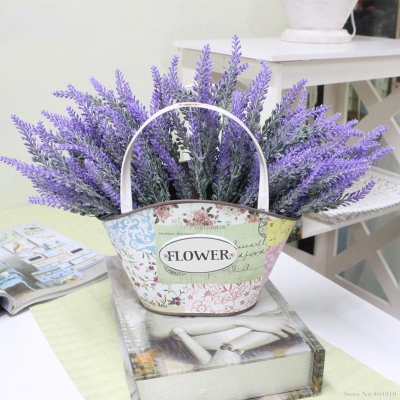 Романтика, Прованс украшения цветок лаванды шелк искусственный цветы волокно Декор моделирование водных растений