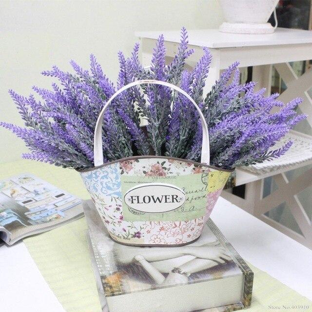 رومانسية بروفانس الديكور زهرة اللافندر الحرير الزهور الاصطناعية الحبوب الزخرفية محاكاة المائية النباتات