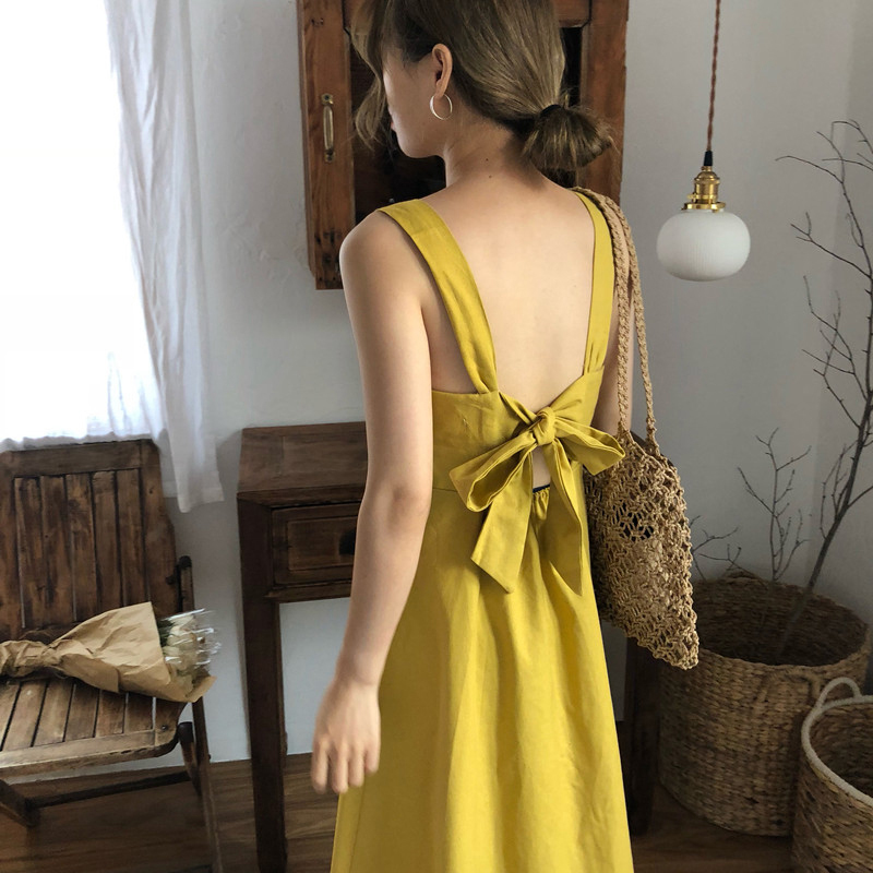 Women Summer Yellow Sexy Backless Bow Tie V Neck Long Tank -3273