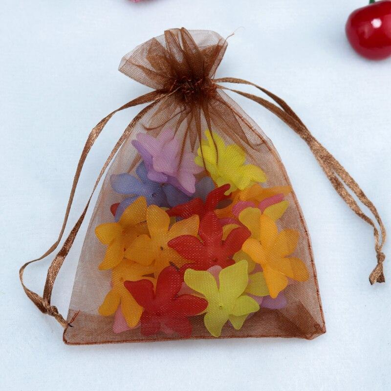 ୧ʕ ʔ୨free Shipping 500pcs Coffee Organza Bags 11x16cm Jewelry