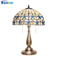 SGROW Art Shell Table Lamp Blue Bead Decoration Lighting Desk Lights for Bedroom Living Room Study Room European Lampara de mesa