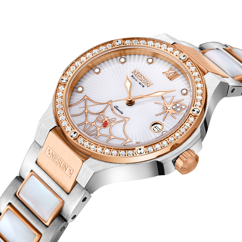 Switzerland Luxury Brand Watch Women NESUN Women s Watches Quartz Relogio Feminino Spider Clock Diamond Wristwatches