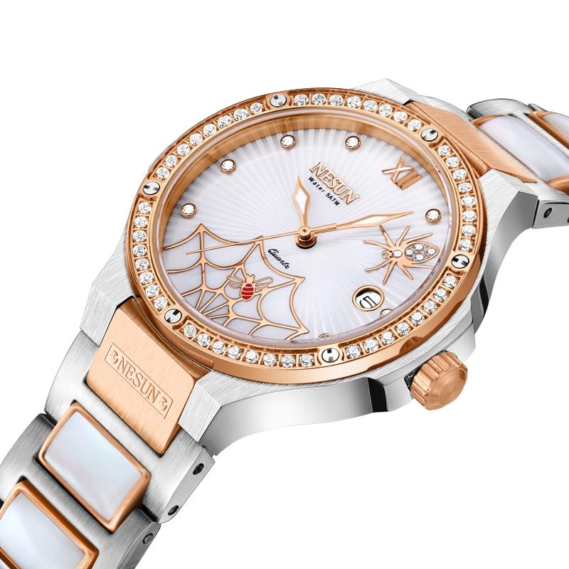 Schweiz Luxus Marke Uhr Frauen NESUN frauen Uhren Quarz Relogio Feminino Spinne Uhr Diamant Armbanduhren N9910 1-in Damenuhren aus Uhren bei  Gruppe 1