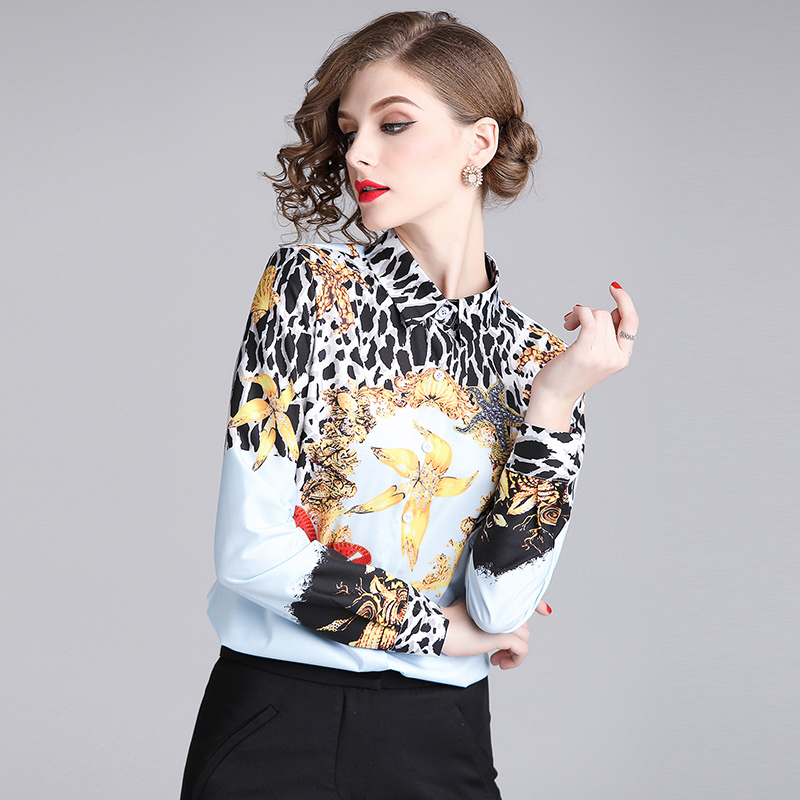 9631675ace Forefair Winter Women Blouse Plus Size Animal Print Casual V Neck Long  Sleeve Shirt Autumn Leopard Blouse Women