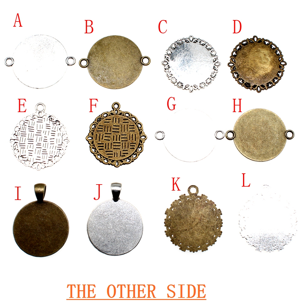 20mm Round Glass Cabochon Base Setting Pendant Tray For Jewelry DIY Making components charms glasses blanks in Jewelry Findings Components from Jewelry Accessories