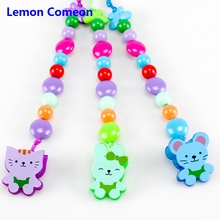 Baby Pacifier Clips Chain Acrylic Beads Cartoon Pacifier Holder Chupetas Soother Dummy Clip Fopspeen Ketting Attache Sucette wood pacifier clip metal dummy clip nature football pattern pacifier chain soother holder baby feeding clips attache sucette
