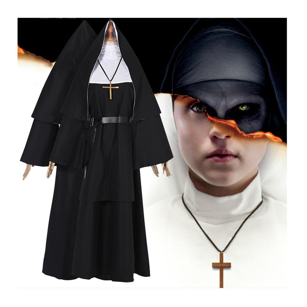 Free Shipping THE NUNt cosplay nuns Adult Halloween Performance Costume nuns priest Black robe Nun Dress Hat Cross Suit