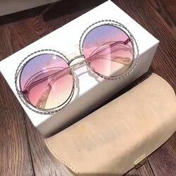 2019 Vintage Runde Big Size Übergroßen objektiv Gradienten Sonnenbrille Frauen Luxus Marke Designer Metall Rahmen Dame Sonnenbrille