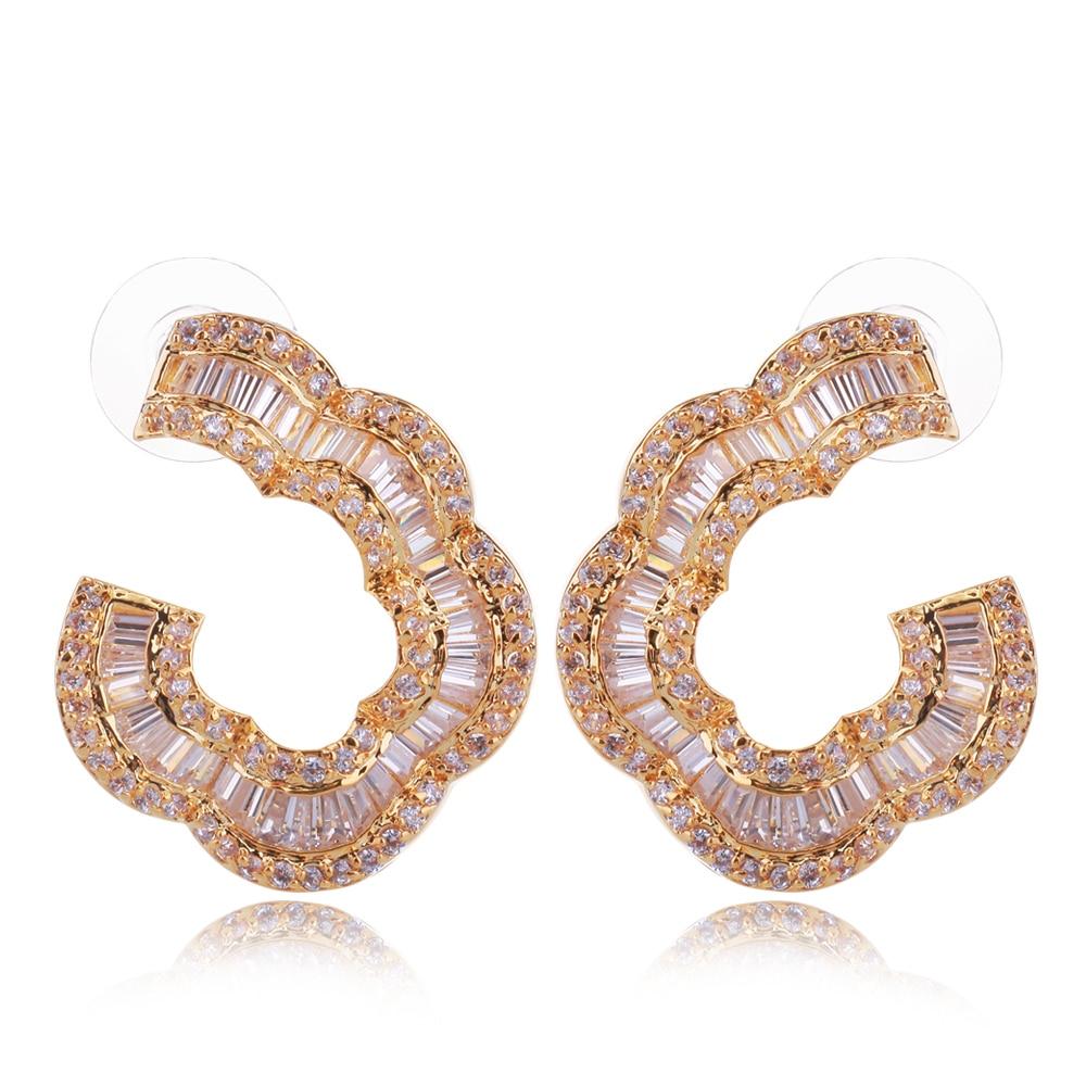 Boucles d'oreilles fleur cuivre matériau réglage cubique zircon pierre meilleur ami cadeau mode bijoux livraison gratuite