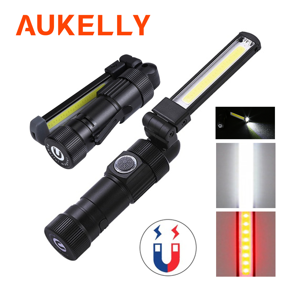 5 Aukelly Lanterna LED Modo de Luz COB USB Recarregável Lâmpada de Trabalho Magnética Tocha Flexível Inspeção Worklight Lanterna Portátil