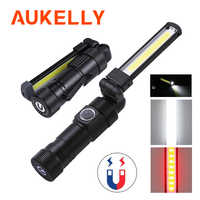 Aukelly LED Flashlight 5 Light Mode COB USB Rechargeable Work Lamp Magnetic Torch Flexible Inspection Lantern Portable Worklight