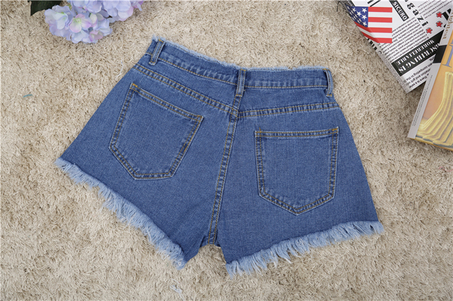 Jeans shorts casual slim fit design zipper tassel solid blue black white high waist regular cotton jeans shorts