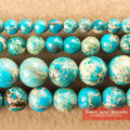 """Free Shipping 16"""" Natural Stone Lake Blue Sea Sediment Imperial Jasper Round Loose Beads 6 8 10 12MM Pick Size For Jewelry SJB01"""