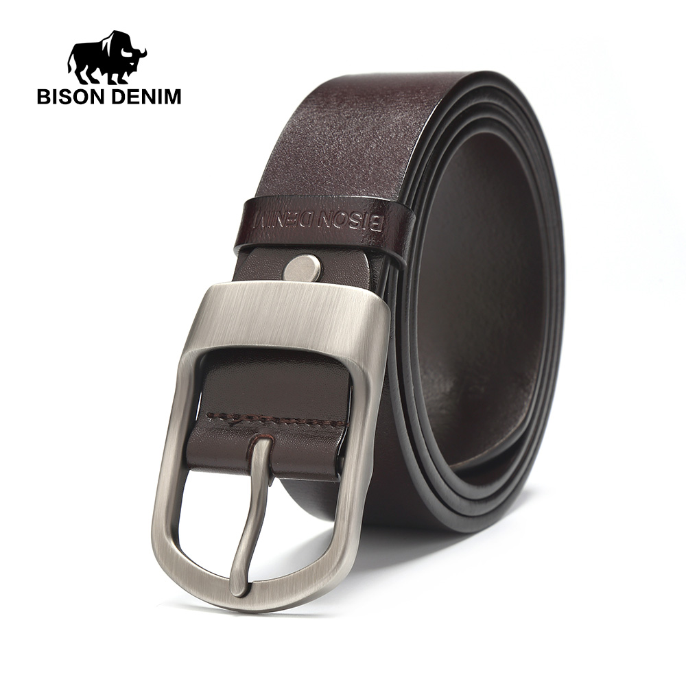 BISON DENIM Famous Men Belt Jeans Genuine Leather Pin Buckle Cowboy Belts For Male Vintage Brand