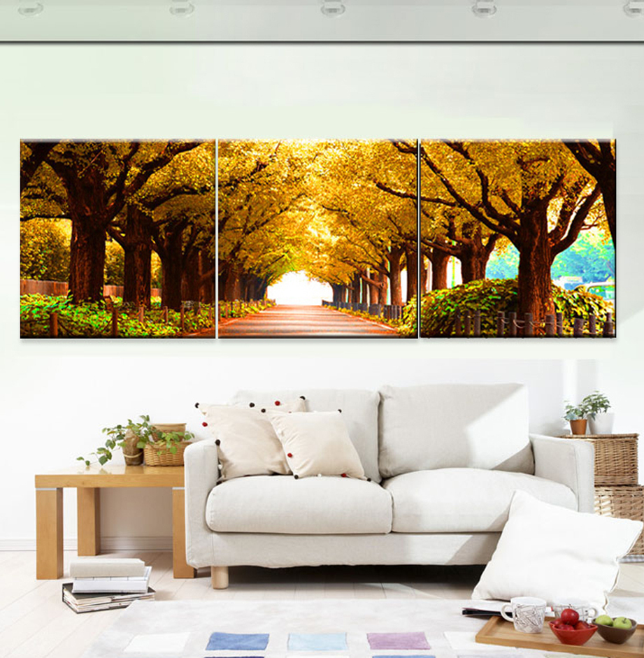 2017 3pcs art cuadros canvas woods oil painting wall for Oleos modernos para salon