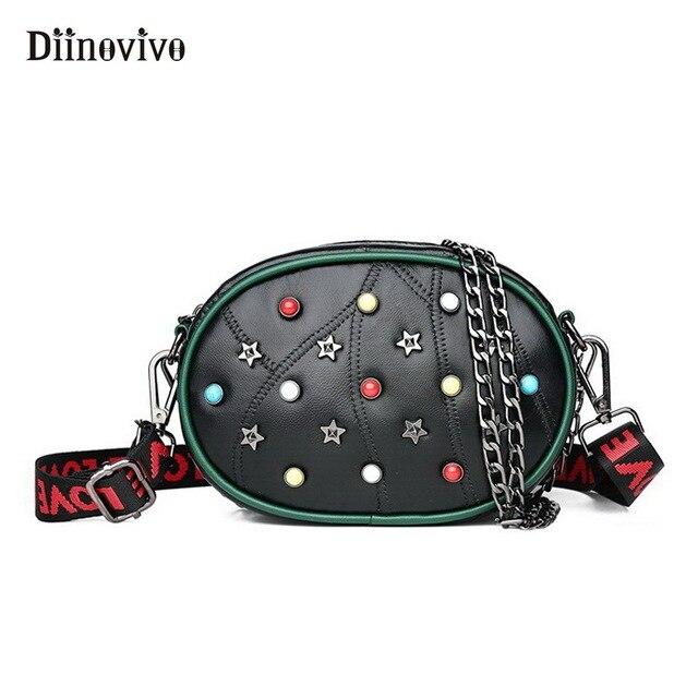 DIINOVIVO Marca Mulheres Couro Bloco de Fanny Cintura Packs Saco Bolsas De Luxo Mulheres Sacos Designer de Moda Rebite Cinto Feminino WHDV0545