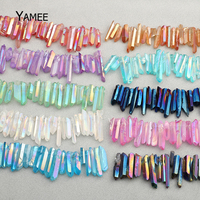 Hot Sale Crystal Point Loose Beads Strand Multicoloured Crystal Quartz Pillar Beads Rock Fashion Jewelry Making