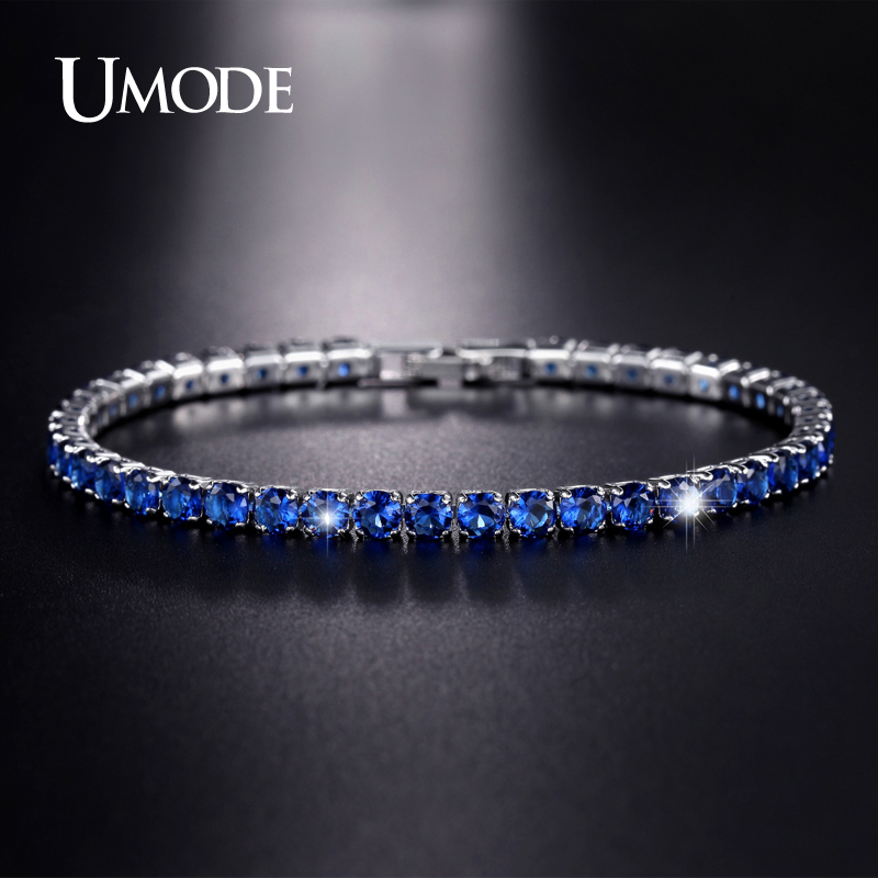 UMODE New CZ Cubic Zirconia Dark Blue Neat Tennis Bracelet For Women New Year's Gifts Fashion Jewelry Bracciali Donna UB0097C