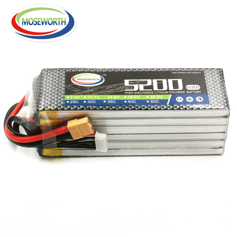 MOSEWORTH 6S RC Lipo Battery 22.2v 60C 5200mAh For RC Aircraft Car Boat Drones Helicopter Quadcopter Airplane Li-ion Battery 6S 1s 2s 3s 4s 5s 6s 7s 8s lipo battery balance connector for rc model battery esc