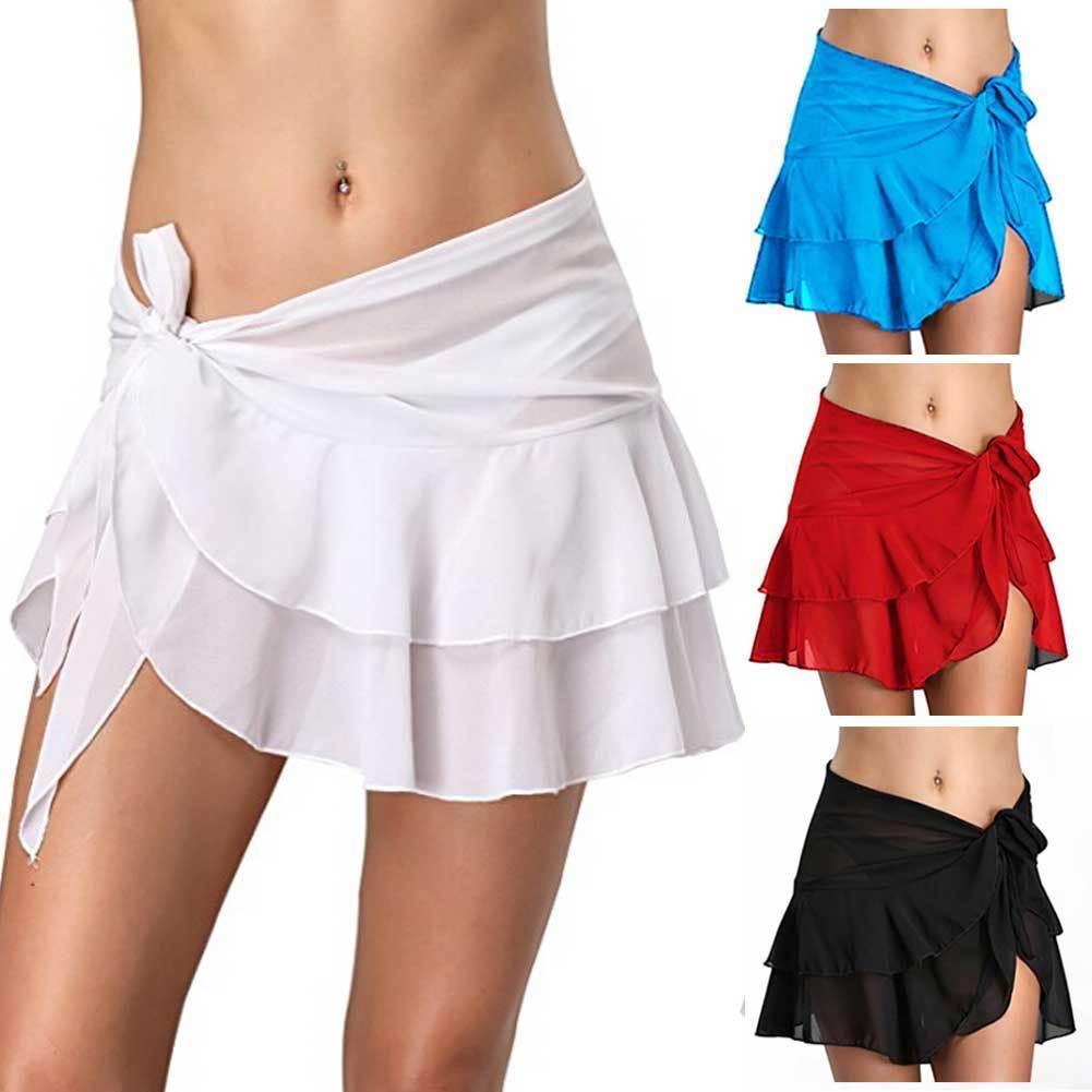 See Through Bikini Cover Up Short Women Beach Skirts Swimwear Pareo Wrap Sarong Skirt Swimsuit Beachwear