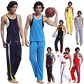 Розничные Мужчины Сетки одежда наборы (майка + длинные брюки) спать Носить костюмы одежду 8 Цвета Размер S, M, L, XL