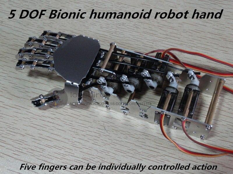 цена на LB DIY5 DOF mini Bionic humanoid robot hand / Gripper assembled for DIY humanoid robot model / robot arm