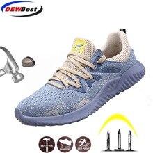 Dewbest sapatos de segurança botas para homens masculinos outono respirável sapatos de trabalho de aço dedo do pé indestrutível botas de trabalho de segurança tênis