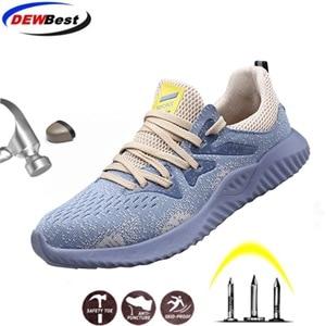Image 1 - Dewbest 安全靴ブーツ男性のための男性秋通気性作業靴鋼つま先不滅安全ワークブーツスニーカー