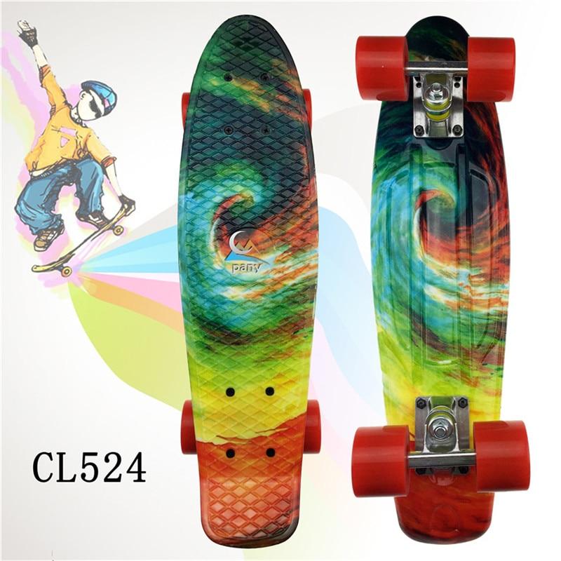 "Image 5 - Plastic Skateboard 22"" Shining color mixed Skate Cruiser Board Plastic Retro Style Banana Skateboard Light Mini Longboard-in Skate Board from Sports & Entertainment"